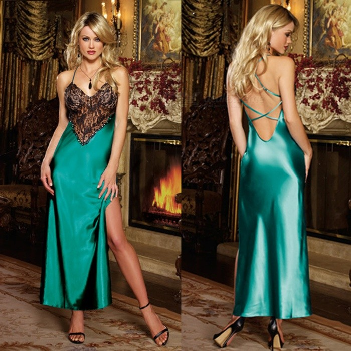 Sexy-Strap-Deep-V-Lace-Splicing-One-Piece-Long-Dress-Lingerie-for-Women-Green