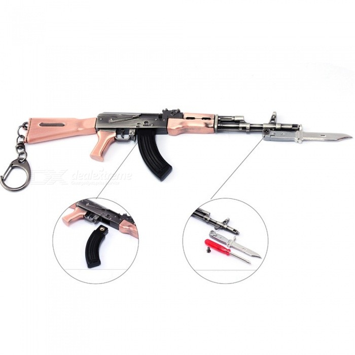 Game PlayerUnknowns Battlegrounds (PUGB) 20cm AKM Assault Rifle Model Toy with Keychain - Gun Color + BronzeFinger Toys<br>ColorGun color+BronzeMaterialZinc alloyQuantity1 pieceSuitable Age 5-7 years,8-11 years,12-15 years,Grown upsPacking List1 x AKM Keychain Assault Rifle1 x Screwdriver (random color)<br>