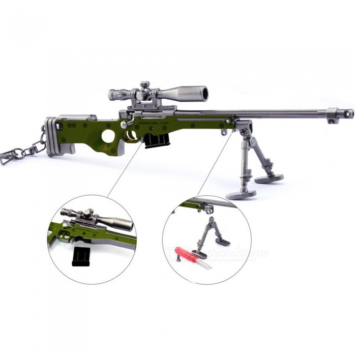 Game PlayerUnknown's Battlegrounds (PUGB) 20cm AKM Sniper Rifle Model Toy with Keychain - Gun Color + Army Green