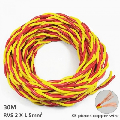 1200W RVS 2 x 1.5 mm2 Pure Copper Core Power Cord for Fire Line / Small Power Tools / Lighting - 30M