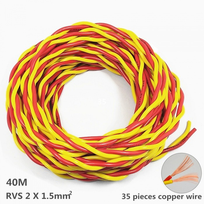 1200W RVS 2 x 1.5 mm2 Pure Copper Core Power Cord for Fire Line / Small Power Tools / Lighting - 40MColorRed + YellowLength40MQuantity1 pieceMaterialPVC Environmental Protection Material + Oxygen Free Copper CoreApplicationElectrical Appliances Below 1200W.Type1.5 mm?Packing List2 x Power Cord (Twisted-pair form)<br>