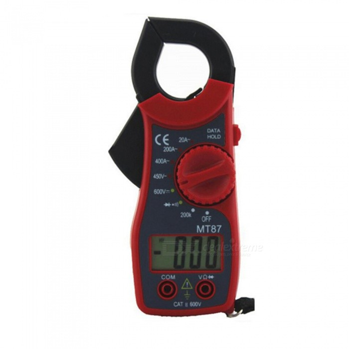 ZHAOYAO MT-87 Digital Multimeter Voltage Meter Clamp Meter Resistance Voltage Measuring Meter, No Battery - RedMultimeters<br>ColorredModelMT-87Quantity1 pieceMaterialABSDC Voltage600V   ±1.0%AC Voltage450V   ±1.2%AC Current20-400A  ±2.0%Resistance200Kohm   ±1.0%Packing List1 x Ammeter1 x Pen1 x Manual<br>