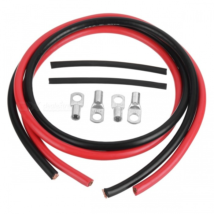 Jtron 4AWG Silicone Copper Wires Cables Set - Red + Black (50cm)