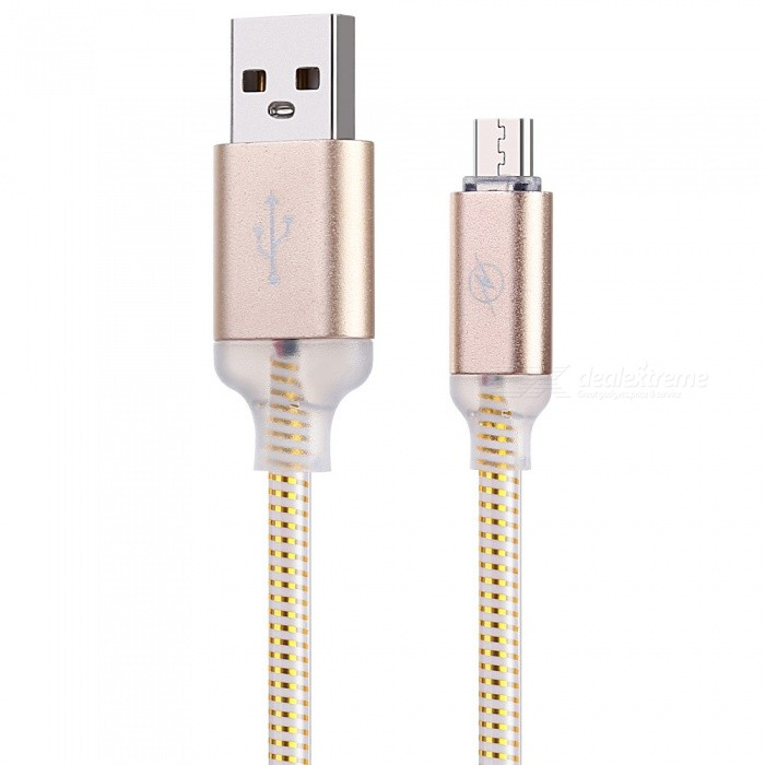 Personalized USB to US3.1 Type-C Fast Charging Data Cable with Colorful LED Light Effect - Golden