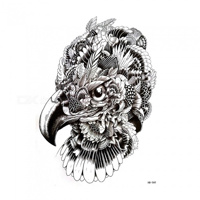 Non-Toxic Waterproof Eagle Head Pattern Paper Temporary Tattoo Sticker for Women Men TeenagersModelHB-360ModelHB-360Quantity1 pieceMaterialWater transfer paper, environmental protection ink, environmental protection glue and laminating filmPacking List1 x Tattoo paper sticker<br>