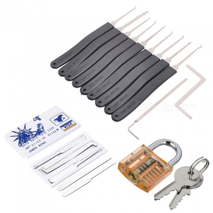 HakkaDeal 19-in-1 Practice Padlock Set, Lock + Lockpick Combination Tool