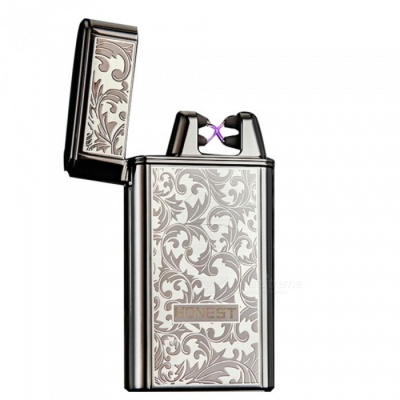HONEST USB Rechargeable Windproof Coil Slim Lighter with USB Charging Cable and Gift Box - White