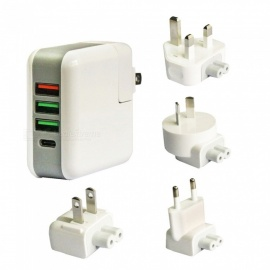 25W-5A-QC30-3-Port-USB-Type-C-Smart-Quick-Charger-with-US-EU-UK-and-AU-Plugs-White