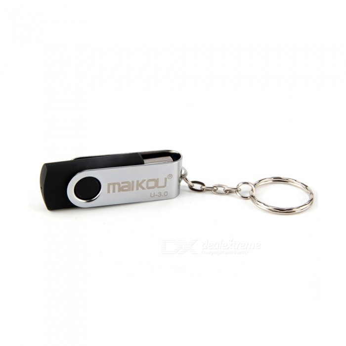 Maikou 360 Degree Rotation USB 3.0 Flash Drive USB Disk 32GB with Keyring - Black16GB USB Flash Drives<br>Capacity32GBModelN/AMaterialABSQuantity1 pieceShade Of ColorBlackMax Read Speed70 - 90MbpsMax Write Speed15 - 30MbpsUSBUSB 3.0With IndicatorNoPacking List1 x USB Disk<br>