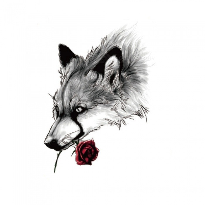Buy HB-889 Wolf Pattern Non-Toxic Waterproof Flash Temporary Tattoo Sticker for Women Men Teen with Litecoins with Free Shipping on Gipsybee.com