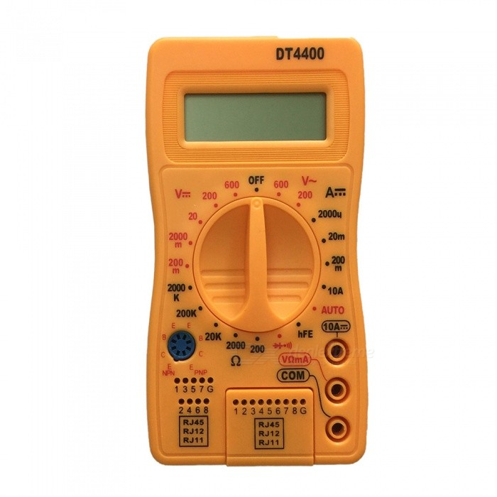4400 LCD Handheld Digital Multimeter for Home and Car - YellowMultimeters<br>ColorYellowModel4400Quantity1 setMaterialPlasticDC Voltage200m-2000m-20-200-600V ±0.5%AC Voltage200-600V ±1.0%DC Current2000u-20m-200m-10A ±1.8%Resistance200-2000-20K-200K-2000K ±1.0%Powered ByOthers,9V 6F22 battery (not included)Battery Number1Battery included or notNoPacking List1 x Multimeter1 x Cable<br>