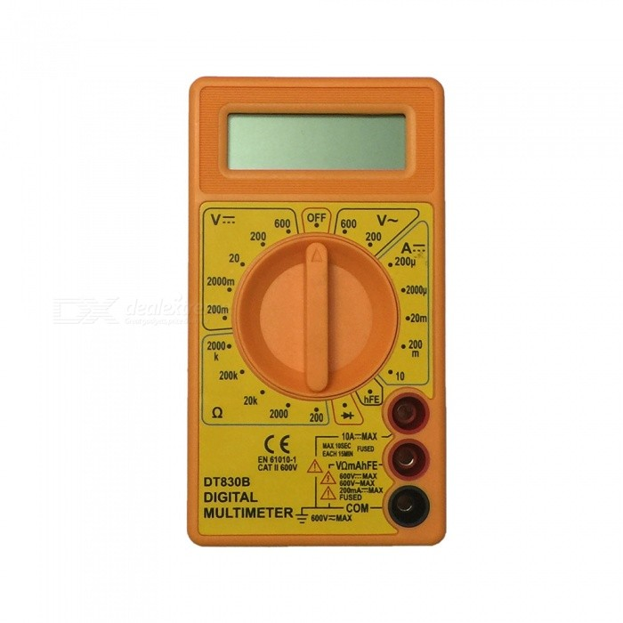 DT830B LCD Handheld Digital Multimeter for Home and Car - YellowMultimeters<br>ColorYellowModelDT830BQuantity1 setMaterialPlasticMax. Display1999DC Voltage200m-2000m-20-200-600V ±0.5%AC Voltage200-600V ±1.0%DC Current200u-2000u-20m-200m-10A ±1.8%Resistance200-2000-20K-200K-2000K ±1.0%Powered ByOthers,1.5V AAA battery x 2 (not included)Battery Number2Battery included or notNoPacking List1 x Multimeter1 x Cable<br>