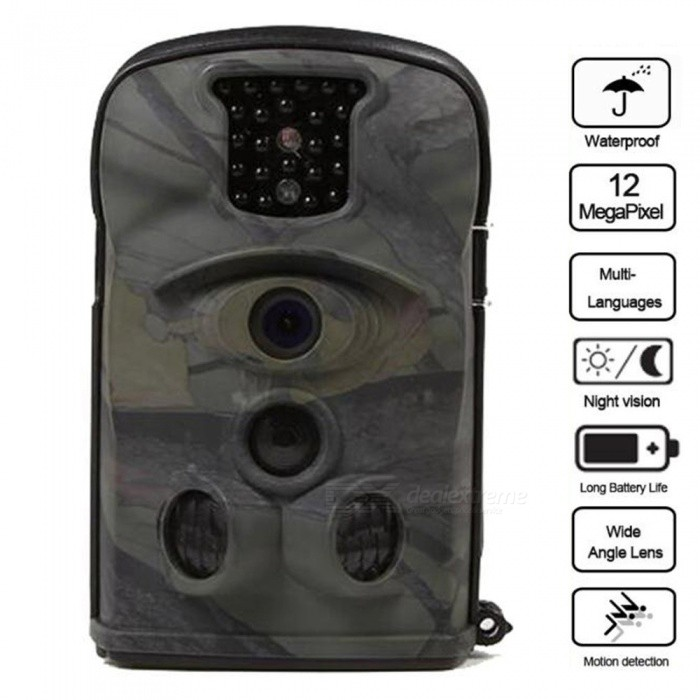 12MP HD Wildlife Hunting Camera with No Glow IR LEDs Night Vision, 120 Degree Wide Angle, 20m Detection RangeSport Cameras<br>ColorMulticolorModelLTL-8210AShade Of ColorGreenMaterialABSQuantity1 pieceImage SensorCMOSImage Sensor Size1/2.5 inchesAnti-ShakeYesFocal DistanceF=3.1 cmFocusing RangeF=3.1; FOV=90°Optical ZoomNoDigital ZoomOthers,NoBuilt-in SpeedliteNoWide Angle120 DegreeEffective Pixels2560x1920Max. Pixels2560x1920 pixelsImagesJPEG,JPGStill Image Resolution12MP = 4032 x 3024 8MP = 3264 x 2448 5MP = 2560 x 1920VideoAVIVideo Resolution1080P (15fps) 720P (25fps) VGA (30fps)Video Frame Rate30Audio SystemMonophonyCycle RecordYesISO400Exposure Compensation-2;-1.7;-1.3;-1;-0.7;-0.3;0;+0.3;+0.7;+1;+1.3;+1.7;+2.0White Balance ModeAutoSupports Card TypeSDSupports Max. Capacity32 GBBuilt-in Memory / RAMNoInput InterfaceMicOutput InterfaceAV,Mini HDMILCD ScreenYesScreen TypeTFTScreen Size2.4 inchesBattery Measured Capacity 0 mAhNominal Capacity0 mAhBattery included or notNoWater ResistantWater Resistant 3 ATM or 30 m. Suitable for everyday use. Splash/rain resistant. Not suitable for showering, bathing, swimming, snorkelling, water related work and fishing.Supported LanguagesEnglish,Russian,Portuguese,Spanish,Italian,French,German,Bulgarian,RomanianPacking List1 x Bestok Trail Camera1 x USB Cable1 x Bundling Belt1 x AV Cable1 x User Manual1 x Warranty Card<br>