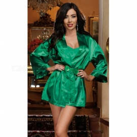 Large-Size-Ice-Silk-Bathrobe-Nightdress-Sexy-Sundresses-Fun-Robe-for-Women-Green