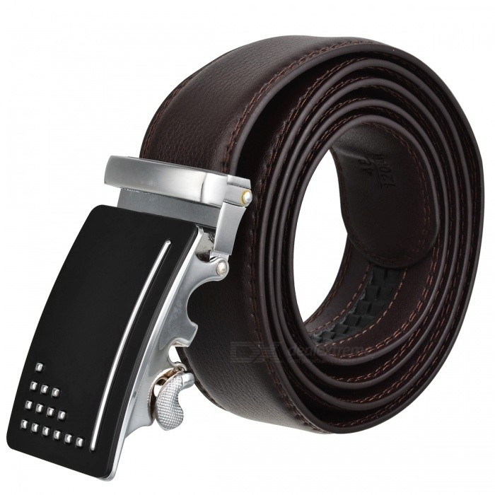 Premium-Mens-Automatic-Buckle-Leather-Belt-Brown