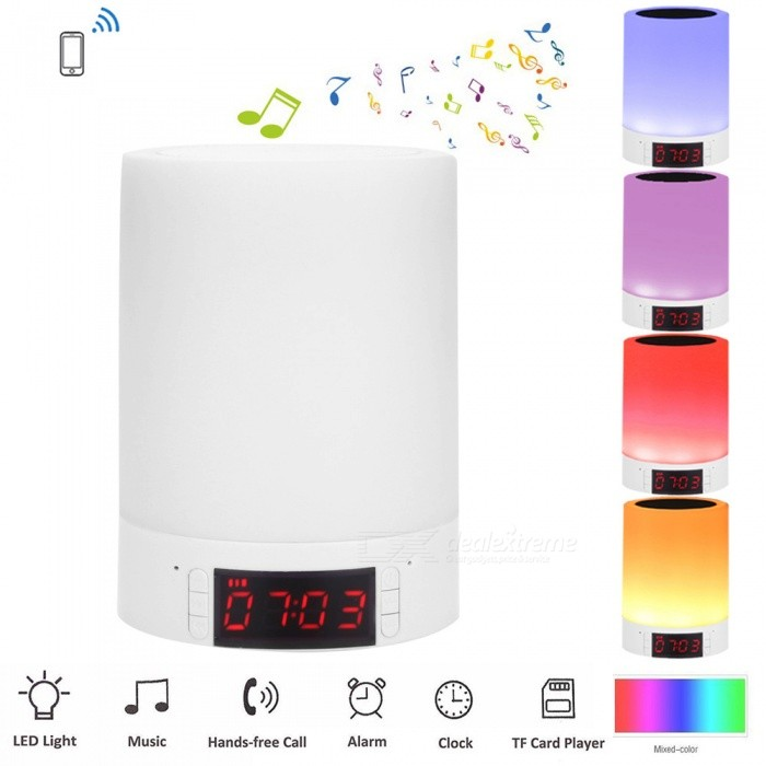 YouOKLight 3W Portable Wireless Bluetooth Mini Stereo 16-LED Speaker Clock Alarm TF AUX Music Box USB Charging Lamp