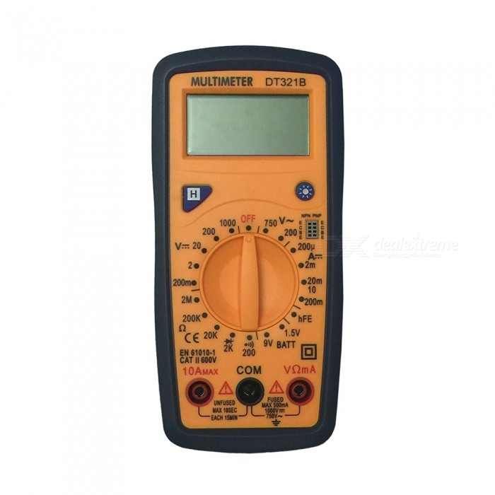 Ismartdigi DT321B LCD Handheld Digital Multimeter, Using for Home and Car - YellowMultimeters<br>ColorYellow (1 Cable) ModelDT321BQuantity1 setMaterialPlasticMax. Display1999DC Voltage200m-2-20-200-1000V             ±0.5%AC Voltage200-750V                               ±1.0%DC Current200u-2m-20m-200m-10A            ±1.8%Resistance200-2k-20k-200k-2M             ±1.0%Powered ByOthers,1.5V AAA battery x2 ( not included )Battery Number2Battery included or notNoPacking List1 x Multimeter1 x Cable<br>