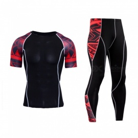 Outdoor-Sports-Tight-Fitting-Suit-Short-Sleeve-Jersey-2b-Long-Pants-Black-2b-Red-(XXL)