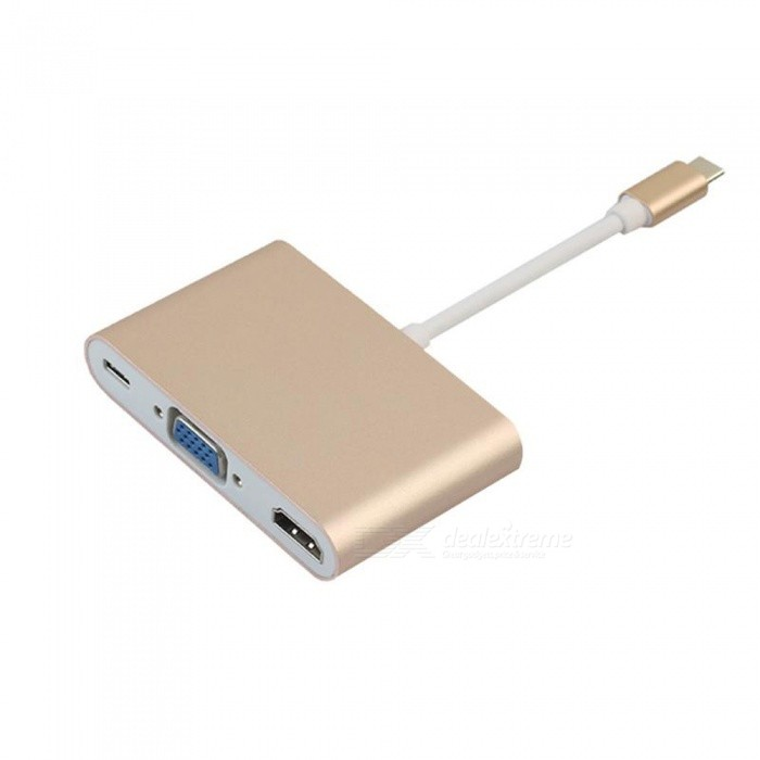 Dayspirit USB3.1 Type-C to VGA HDMI Type-C Female Charger PD Converter Adapter for Macbook - GoldenAV Adapters And Converters<br>ColorGoldenModelN/AMaterialAluminium alloyQuantity1 pieceConnectorHDMI,VGA,Others,USB3.1Packing List1 x Type-c Adapter<br>