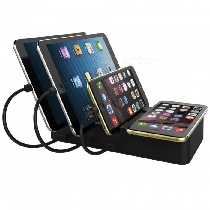 Measy Multi-USB Charging Stand Station Organizer, Foldable Qi Wireless Charging Dock with 3 USB Ports (US Plug)USB Hubs &amp; Switches<br>ColorUS PlugQuantity1 setMaterialABSShade Of ColorBlackIndicator LightNoPort Number3 USB ports + 1 wirless charger padWith Switch ControlYesInterfaceUSB 3.0Transmission RateOthers,N/A MbpsPowered ByAC ChargerSupports SystemOthers,Compatible with any QI enabled device like iPhone X, 8/8Plus, Galaxy S8,S8 Plus, Note 8, S7,S7 Edge, S6,S6 Edge, S6 Edge Plus, Google Nexus 4/5/6 ,LG G6ect. Other device have no wireless charging function except putting on extra receivers.Packing List1 x Charging Station 1 x Power cord 1 x User manual<br>