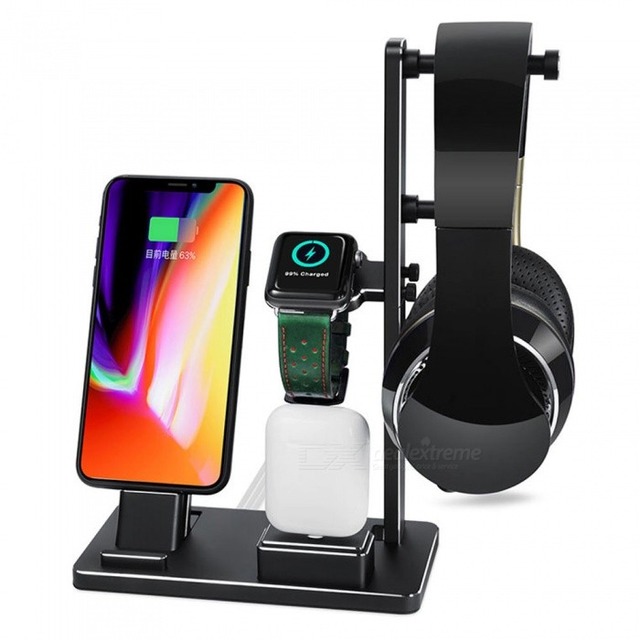 official photos 5786a ac98b Measy 6-in-1 Apple Watch Charging Dock Station, Aluminum Headphone Stand  Holder for IPHONE X, 8 - Black