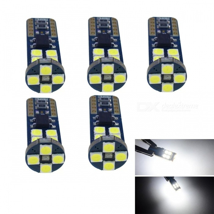JRLED T10 4W Cold White Light 3030 12-SMD LED Car Indicator Lamps (5 PCS)Car Interior Lights<br>Quantity12 LEDQuantity5 piecesMaterialsoft fiber+LEDPower4 WWorking VoltageDC12VConnectorOthers,T10Bulb Specification3030 SMDBrightness350LmColor BIN6000KApplicationOthers,reading lampWide lightSuitable forUniversalCertificationCE ROHSPacking List5 x T10 DC12V LED lamps<br>