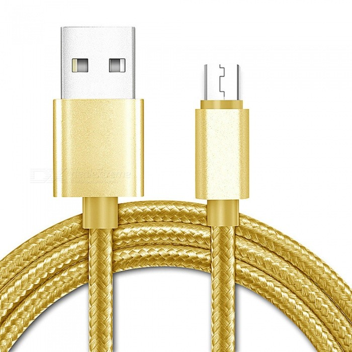 Micro USB to USB Fast Charging Data Cable for Samsung / Xiaomi Mobile Phone - GoldenCables<br>ColorGoldenMaterialPlasticQuantity1 pieceConnectorMaterial: Aluminum Alloy,Nylon;<br>Cable Length (cm): 1MPacking List1 x Data Cable<br>