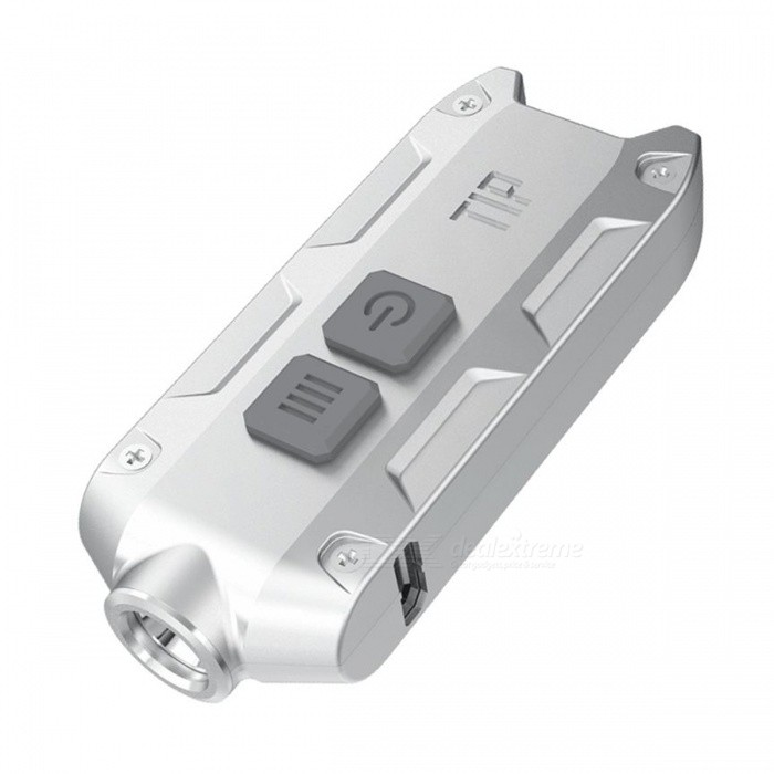 NITECORE TIP USB Rechargeable Min Flashlight 360 Lumen Torch with Battery Keychain - SilverLED Keychains<br>ColorSilverQuantity1 setMaterialMetalShade Of ColorSilverNumber of Emitters1Light ColorCold LightPower SupplyRechargeable Li-ionPacking List1 x Keychain Light<br>