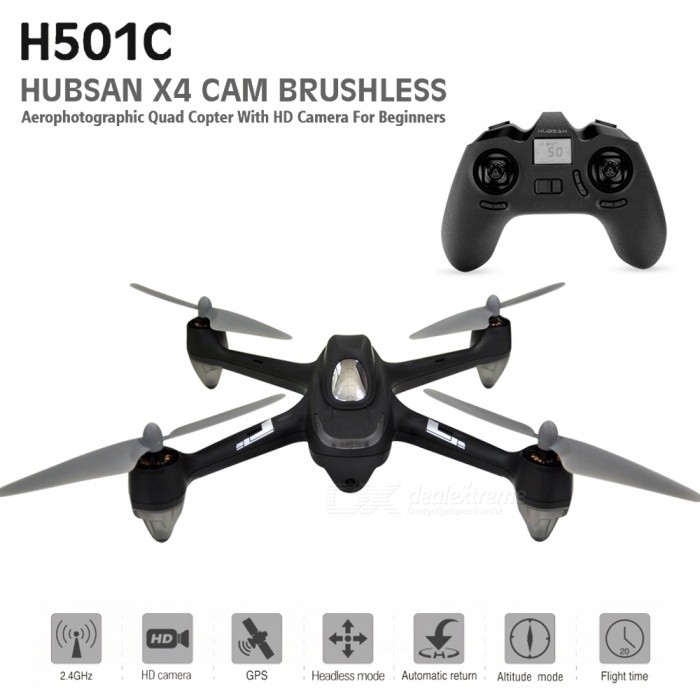 Hubsan X4 H501C Brushless RC Drone Quadcopter RTF with 1080P HD Camera, GPS, Altitude Hold Mode (EU Plug)R/C Airplanes&amp;Quadcopters<br>ColorBlackModelH501CMaterialPlasticQuantity1 setShade Of ColorBlackGyroscopeYesChannels Quanlity6 channelFunctionUp,Down,Left,Right,Forward,Backward,Stop,Hovering,Sideward flightRemote TypeRadio ControlRemote control frequency2.4GHzRemote Control Range300 mSuitable Age 12-15 years,Grown upsCameraYesLamp YesBattery TypeAAABattery Capacity2700 mAhCharging Time210 minutesWorking Time21 minutesRemote Controller Battery TypeAAARemote Controller Battery Number1Remote Control TypeIncludedModelMode 2 (Left Throttle Hand)Packing List1 x Hubsan H501C X4 FPV Drone1 x 2.4G Transmitter (mode 2)1 x 7.4V 2700mAh 10C Li-Po Battery1 x Balance Charger1 x Charger Adapter8 x Propellers1 x Wrench1 x English manual<br>
