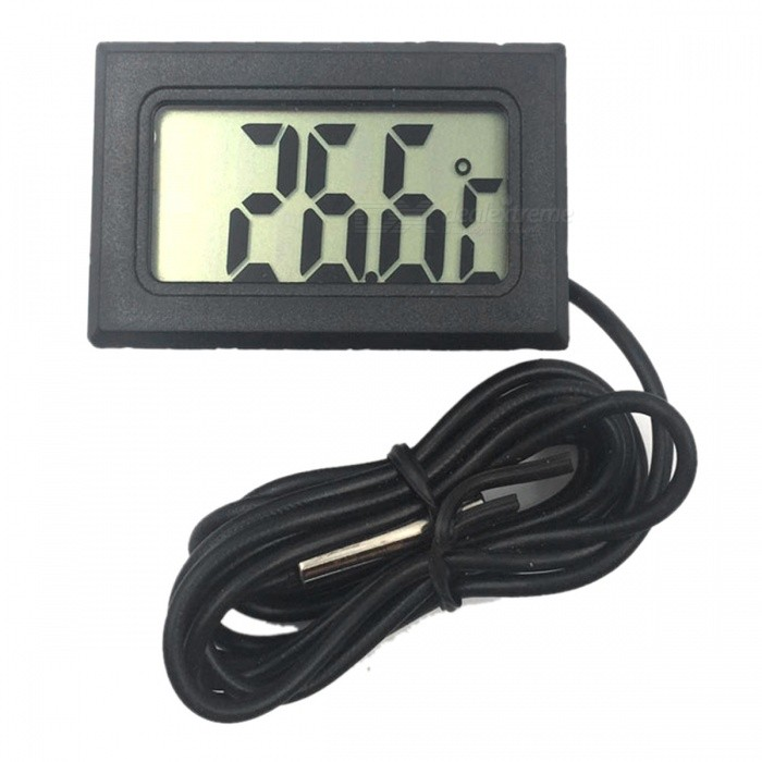 ZHAOYAO Electronic Digital Thermometer, Fish Tank Refrigerator Water Temperature Thermometer with Waterproof Sensor - BlackTemperature Instruments<br>ColorBlackModel16Quantity1 setMaterialPlastic + Electronic ComponentsScreen Size- cmCelsius Range-50-110Fahrenheit Range±1 ?Auto Power OffNoPacking List1 x Thermometer 1 x 1m probe2 x AG13 batteries<br>