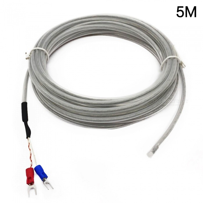Type K 5M Teflon PTFE 0-500 Degree Thermocouple Temperature Sensor Cable - White