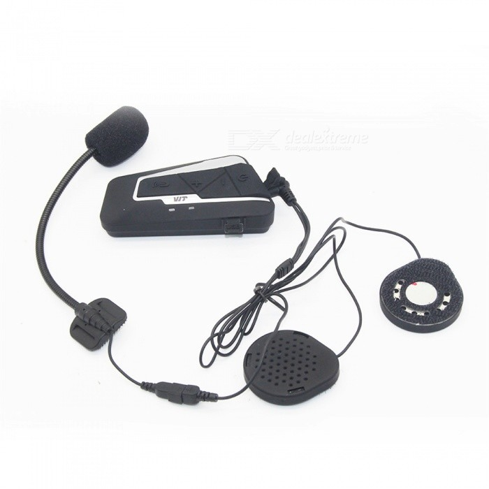 Multi-functional Waterproof Bluetooth Helmet Walkie Talkie, Safe Cycling Hands-free Phone HeadsetMotorcycle Interphone<br>ColorBlack with silverModelT9SQuantity1 setMaterialABSApplicationOthers,HelmetBluetooth VersionBluetooth V3.0Transmit Distance10 mTuner Bands87.5-108mHzTalk Time15 hoursStandby Time350 hoursPower Supply3.7VBuilt-in Battery Capacity 800 mAhWaterproof FunctionYesInterface1 x 3.5mm,1 x mini USBInstallation MethodhelmetPacking List1 x Bluetooth interphone host1 x Button base clip1 x Sticky base clamp1 x Stereo headset1 x Hose microphone1 x Soft microphone1 x USB cable2 x Listen to the magic sticks1 x Microphone magic stick2 x Metal handles1 x Specification<br>