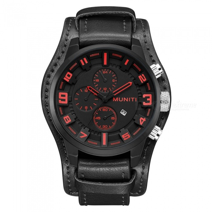 MUNITI Mens Premium Quartz Watch Waterproof Sports Big Dial PU Leather Band Wrist Watch - BlackQuartz Watches<br>ColorBlackModel1007Quantity1 pieceShade Of ColorBlackCasing MaterialAlloyWristband MaterialLeather strapSuitable forAdultsGenderMenStyleWrist WatchTypeSports watchesDisplayAnalogBacklightNoMovementQuartzDisplay Format24 hour time formatWater ResistantFor daily wear. Suitable for everyday use. Wearable while water is being splashed but not under any pressure.Dial Diameter4.8 cmDial Thickness1.4 cmWristband Length24.5 cmBand Width22 cmBatteryLR626 * 1pcsPacking List1 x Watch<br>