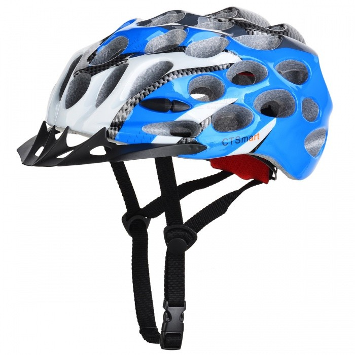 CTSmart Lightweight Outdoor Riding Cap,One-piece Safety Helmet (One Size)Helmets<br>ColorBlack + BlueQuantity1 pieceMaterialEPS + PCHead Circumference58-62 cmSuitable forAdultsGenderUnisexBest UseCycling,Mountain Cycling,Recreational Cycling,Road Cycling,Triathlon,Bike commuting &amp; touring,Cross-trainingPacking List1 x Helmet<br>