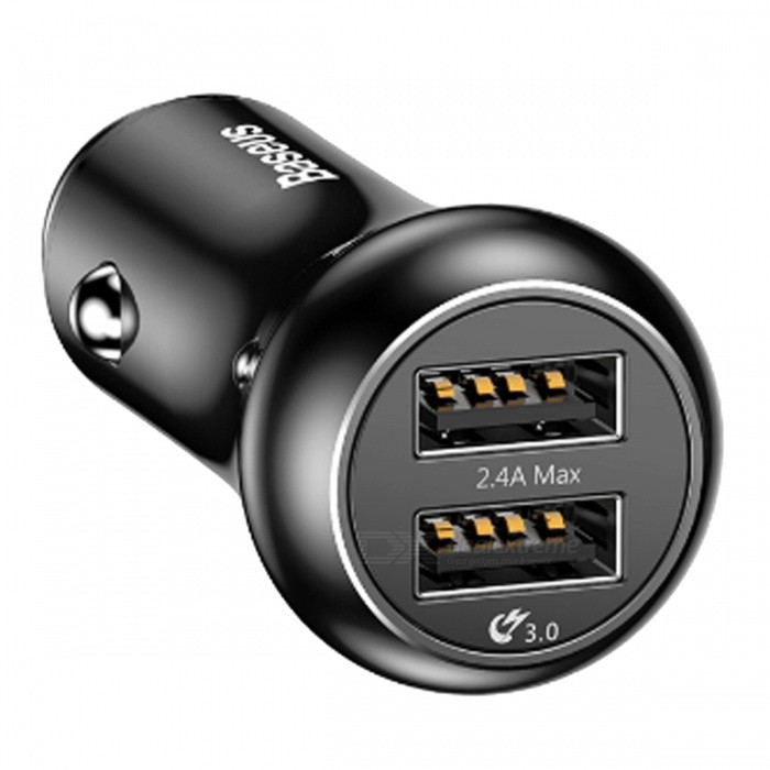 Baseus QC3.0 Turbo USB Car Charger, Quick Charge 3.0 12-24V 4.8A Dual USB Metal Car Mobile Phone Charger for IPHONE Samsung, Etc
