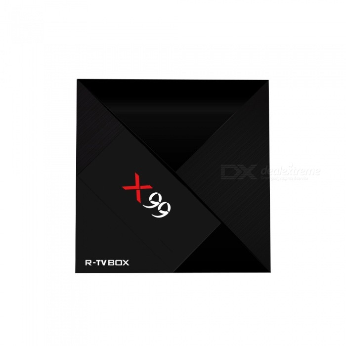 X99 Rockchip RK3399 Android 7.1 Smart TV Box with 4GB RAM, 32GB ROM (US Plug)Smart TV Players<br>ColorBlackBuilt-in Memory / RAM4GBStorage32GBPower AdapterUS PlugModelX99Quantity1 pieceMaterialABSShade Of ColorBlackOperating SystemOthers,Android 7.1ChipsetRK3399CPUOthers,Dual Cortex-A72 big-core+Quad Cortex-A53 small-coreProcessor Frequency2.0GHzGPUARM Mali-T860 high-performance GPU quad-core 800MHZMenu LanguageEnglish,French,German,Italian,Spanish,Portuguese,Russian,Vietnamese,Polish,Greek,DanishMax Extended Capacity64GBSupports Card TypeMicroSD (TF)Wi-Fi802.11 a/b/g/n/acBluetooth VersionBluetooth V4.03G FunctionNoWireless Keyboard/Mouse2.4G /5G dual-band Wi-FiAudio FormatsMP3,WMA,APE,FLAC,OGG,AC3,DTS,AACVideo FormatsAVI,MKV,MOV,M4V,PMP,AVC,FLV,VOB,MPG,DAT,MPEGAudio CodecsDTS,AC3,FLACVideo CodecsH.264,H.265Picture FormatsJPEG,BMP,PNG,GIF,TIFFSubtitle FormatsMicroDVD [.sub],SubRip [.srt],Sub Station Alpha [.ssa],Sami [.smi]idx+subPGSOutput Resolution1080PHDMI2.0USBUSB 2.0,USB 3.0Power Supply5V 3APacking List1 x TV box1 x User manual1 x Power adapter1 x Type-c cable1 x HDMI cable1 x 2.4G Air Mouse<br>