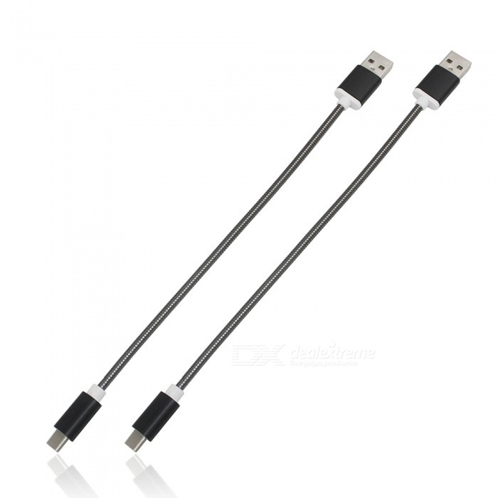 2Pcs 3.4A Stainless Steel Spring Quick Charge Type-C USB 3.1 USB Charging Cable - Black (24CM)