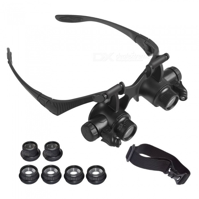 YWXLight Magnifying Glasses With LED Headlamp, Interchangable Headband, 10X 15X 20X 25X LensesColorBlackMaterialPCQuantity1 pieceLED Quantity2LED ColorWhiteBattery ModelOthersBattery Number2Packing List1 x Magnifier4 x Lens(10X, 15X, 20X, 25X)1 x Headband1 x User Manual(English)<br>