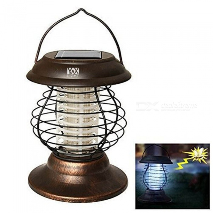 YWXLight Retro Solar Powered Handle Held Garden Light Lamp Outdoor Anti-Mosquito Light - Brown