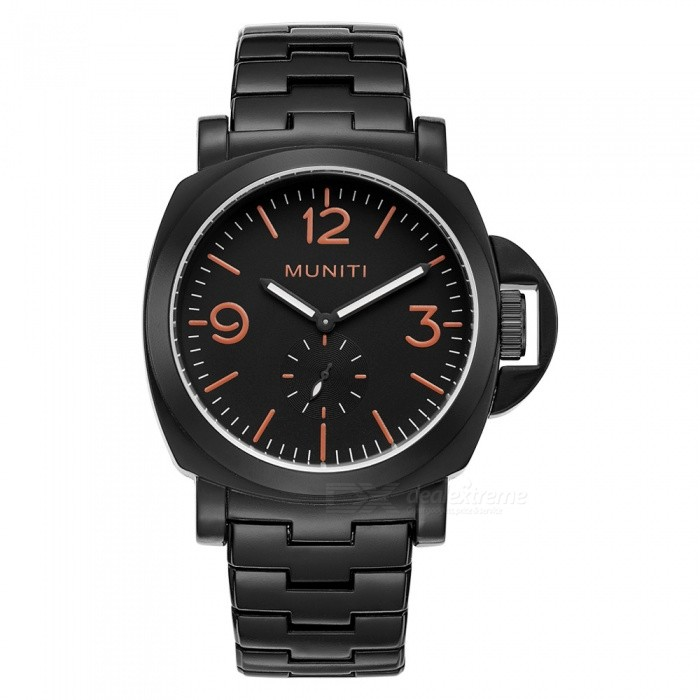 MUNITI Fashion 30m Waterproof Mens Sports Quartz Watch with Big Dial, Alloy Strap - BlackQuartz Watches<br>ColorBlackModelMT1009Quantity1 pieceShade Of ColorBlackCasing MaterialAlloyWristband MaterialAlloy StrapSuitable forAdultsGenderMenStyleWrist WatchTypeCasual watchesDisplayAnalogMovementQuartzDisplay Format12 hour formatWater ResistantWater Resistant 3 ATM or 30 m. Suitable for everyday use. Splash/rain resistant. Not suitable for showering, bathing, swimming, snorkelling, water related work and fishing.Dial Diameter4.6 cmDial Thickness1.4 cmWristband Length25.5 cmBand Width2.2 cmBattery1pcs *  LR626Packing List1 x Watch<br>