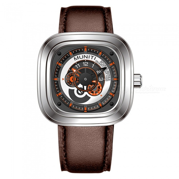 MUNITI Racing Elements 30m Waterproof Mens Quartz Watch with Big Dial Leather Strap, Business / Sports Watch - Brown + SilverQuartz Watches<br>ColorBrown + SilverModelMT1020Quantity1 pieceShade Of ColorBrownCasing MaterialAlloyWristband MaterialLeather StrapSuitable forAdultsGenderMenStyleWrist WatchTypeCasual watchesDisplayAnalogBacklightNOMovementQuartzDisplay Format12 hour formatWater ResistantWater Resistant 3 ATM or 30 m. Suitable for everyday use. Splash/rain resistant. Not suitable for showering, bathing, swimming, snorkelling, water related work and fishing.Dial Diameter4.8 cmDial Thickness1.2 cmWristband Length25 cmBand Width2.8 cmBattery1pcs * LR626Packing List1 x Watch<br>