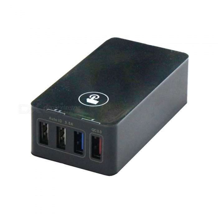 Fast Charge QC3.0 40W 4-Port USB Smart Charger - Black (EU Plug)Plugs &amp; Sockets<br>Plug TypeBlack - EU PlugModelQC3.0Quantity1 setMaterialABS + PC high temperature fire resistance fuelFireproof MaterialYesRate VoltageAC100-240V 50/60HzRated Current8 ARated Power40 WCompatible PlugOthers,QC 3.0 USB / USB 2.0GroundingYesOutlet4 setWith Switch ControlNoSurge Protection FunctionYesLightning Protection FunctionYesWith FuseYesCable Length1.2 mPower AdapterEU PlugPacking List1 x Charger1 x Charging cable<br>