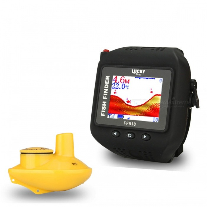 LUCKY FF518 Watch Type Sonar Fish Finder, Wireless FishfinderColorBlackModelN/AQuantity1 setMaterialABSPacking List1 x Watch Fish finder1 x Wireless sonar sensor1 x Charger1 x Vehicle charger1 x CR-2032 Battery1 x Manual<br>