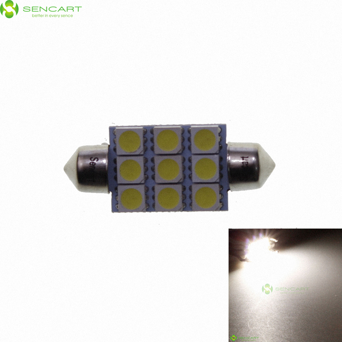 39mm 2W 9-SMD LED 126-Lumen 6500K White Dome Light (DC 12V)