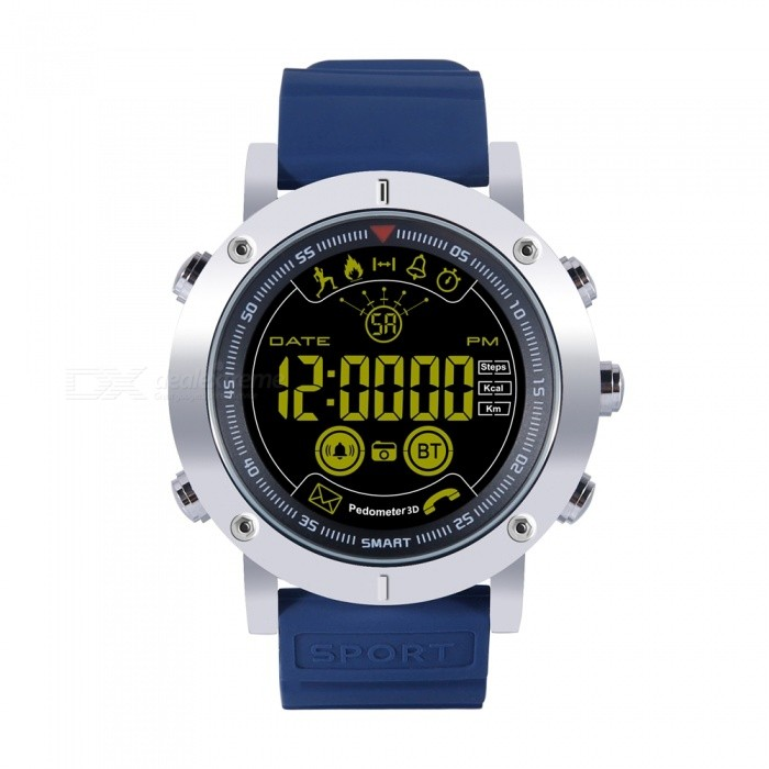 5ATM Waterproof Smart Clock Watch, Fitness Band with Step Pedometer / Stopwatch - BlueSmart Watches<br>ColorBlueQuantity1 setMaterialABS + MetalCPU ProcessorChip SI-BW03Screen Size1.21 inchScreen Resolution400*400Bluetooth VersionBluetooth V4.0Compatible OSAndroid Android 4.4 and iOS8.0 or moreLanguageEnglishWristband Length22 cmWater-proofIP68Battery ModeReplacementBattery TypeCR2032 batteryBattery Capacity610 mAhStandby Time12 monthsPacking List1 x Smart Watch 1 x Manual<br>