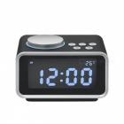 Multi-function-FM-Radio-Alarm-Clock-Snooze-Function-Indoor-Thermometer-Dual-USB-Port-Charger-LCD-Table-Clock-Black-(EU-Plug)