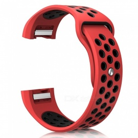 Miimall Soft Silicone Breathable Adjustable Replacement Watch Band with Air Holes  for Fitbit Charge 2