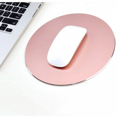 220 x 220mm Round Shaped Aluminium Alloy Mouse Pad - Rose Gold