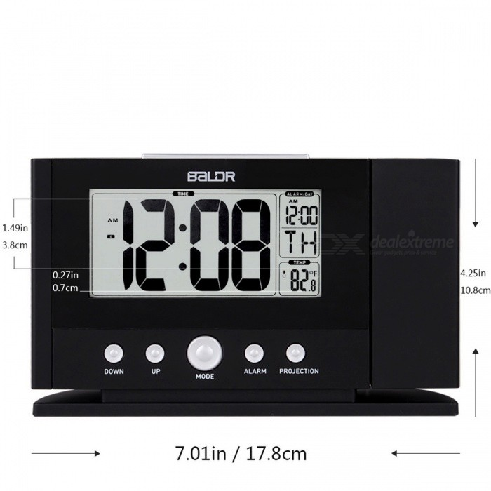 Baldr Digital Projection Clock, Ceiling Wall Alarm Snooze Timer Watch, Constant Time Projector LCD Thermometer Clock (EU Plug)