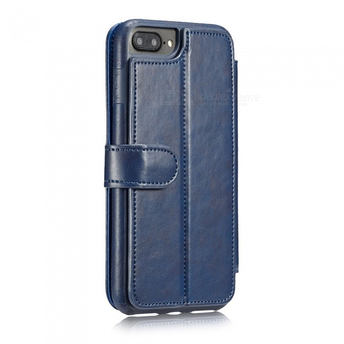 Measy Fashionable PU Leather Wallet Case for IPHONE 7/8 Plus - BlueLeather Cases<br>Modeliphone 7/8 PlusColorBlueQuantity1 pieceMaterialPUCompatible ModelsiPhone 7 PLUS,IPHONE 8 PLUSStyleFull Body Cases,Flip OpenDesignSolid Color,With Stand,Card SlotPacking List1 x Case<br>